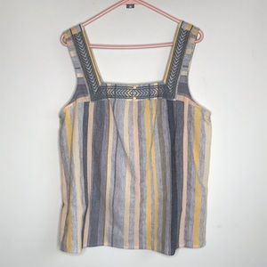 Lucky Brand Tank Top Yellow Gray Square Neck Multi